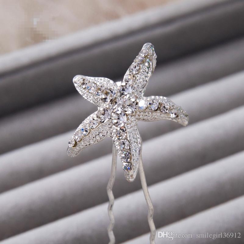 100% Brand New Silver Wedding Bridal Crystal Rhinestone Starfish Hairpins Tiara Clip & Pin Headwear Hair Accessories Headpiece Prom
