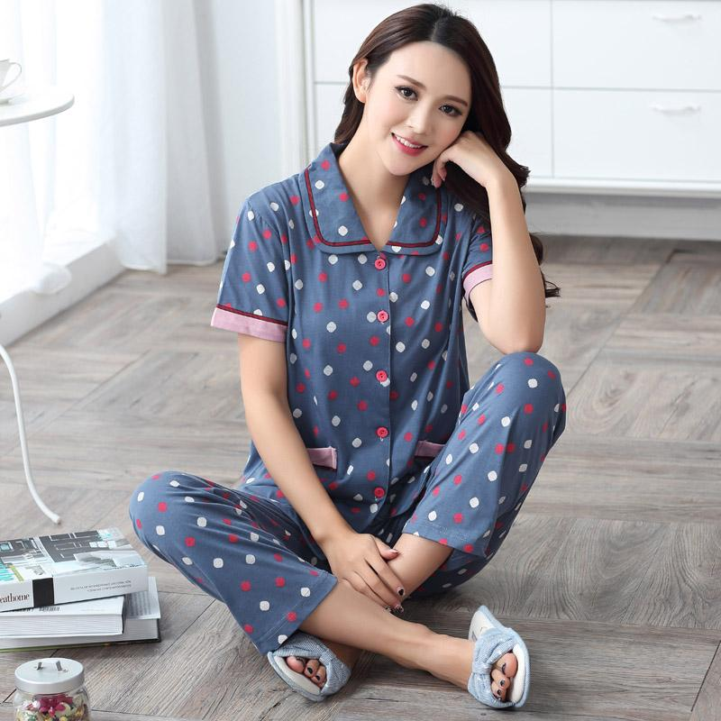 2019 Wholesale New Short Sleeve Pajama Set Women Sleepwear Summer 100% Cotton  Pajamas Women Plus Size Women M XXXXL Pijamas Mujer 2XL 3XL 4XL From  Sincha cc84e9c83