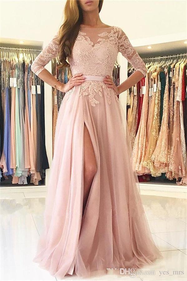2017 Sexy Blush Pink Prom Dresses Jewel Neck maniche lunghe Aperto indietro Appliques in pizzo Split Tulle Plus Size Vestito da partito Abiti da sera convenzionali