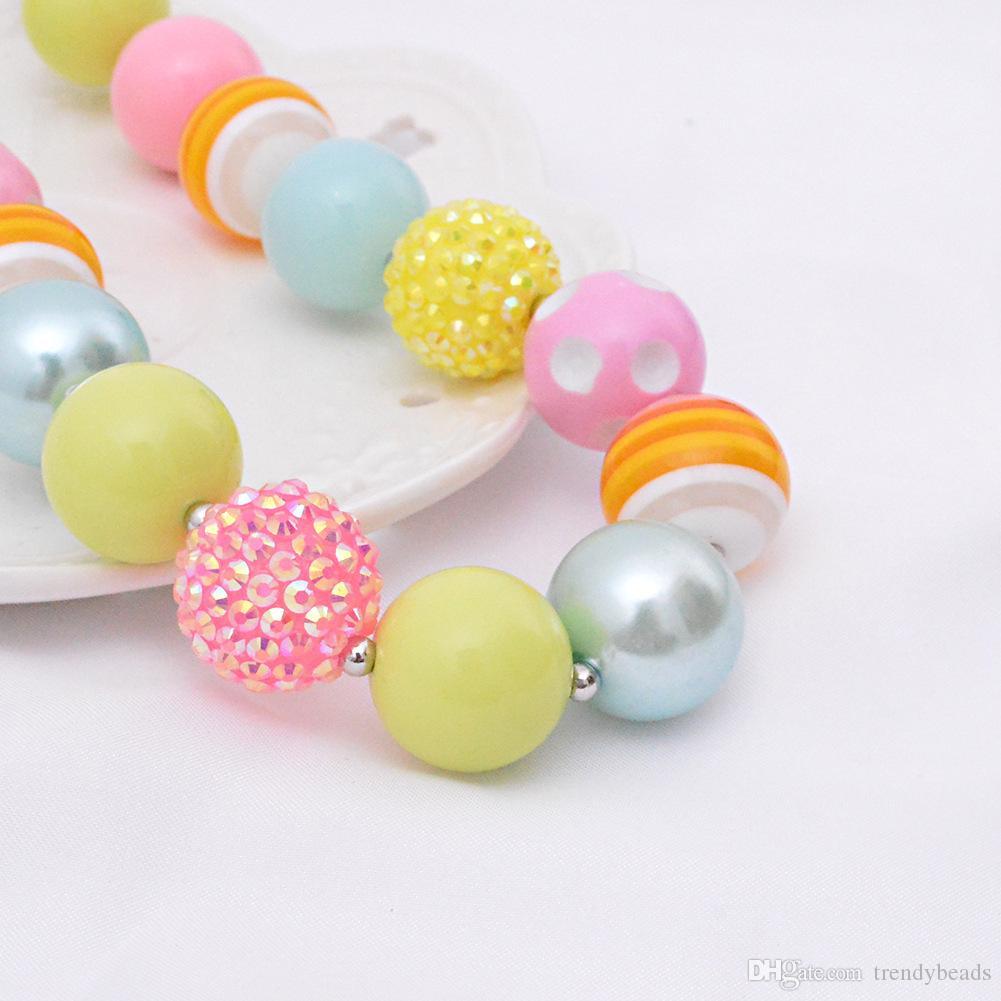 Toddler or Girls Rainbow coloré candy pastel Chunky perlé collier et bracelet ensemble