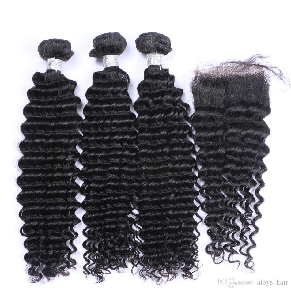 Lace Closures With 3 Bundles Brazilian Curly Virgin Human Hair Weaves 8A Peruvian Malaysian Cambodian Indian Mongolian Jerry Curly Hair Weft