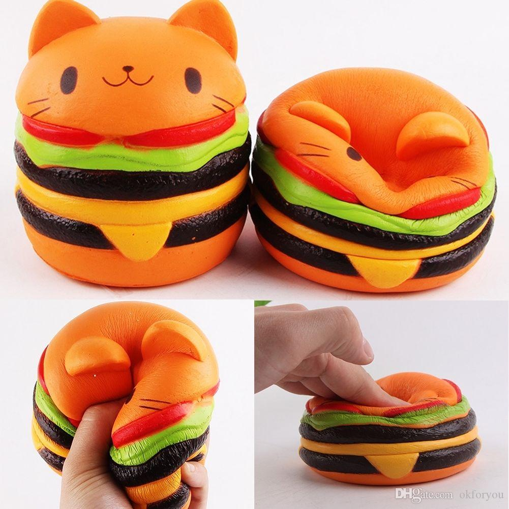 Jumbo Hamburger Cat Squishy Kawaii Charms Squishies Burger Slow Rising Squeeze Soft Scented ...