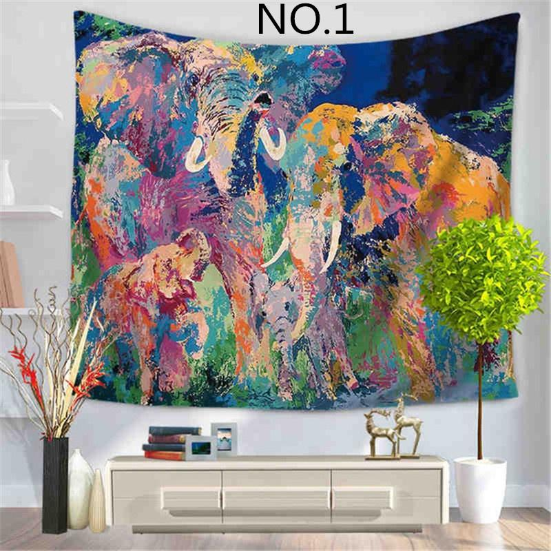 Indian Mandala Tapestry Color Painted Elephant Wall Tapestry Beach ...