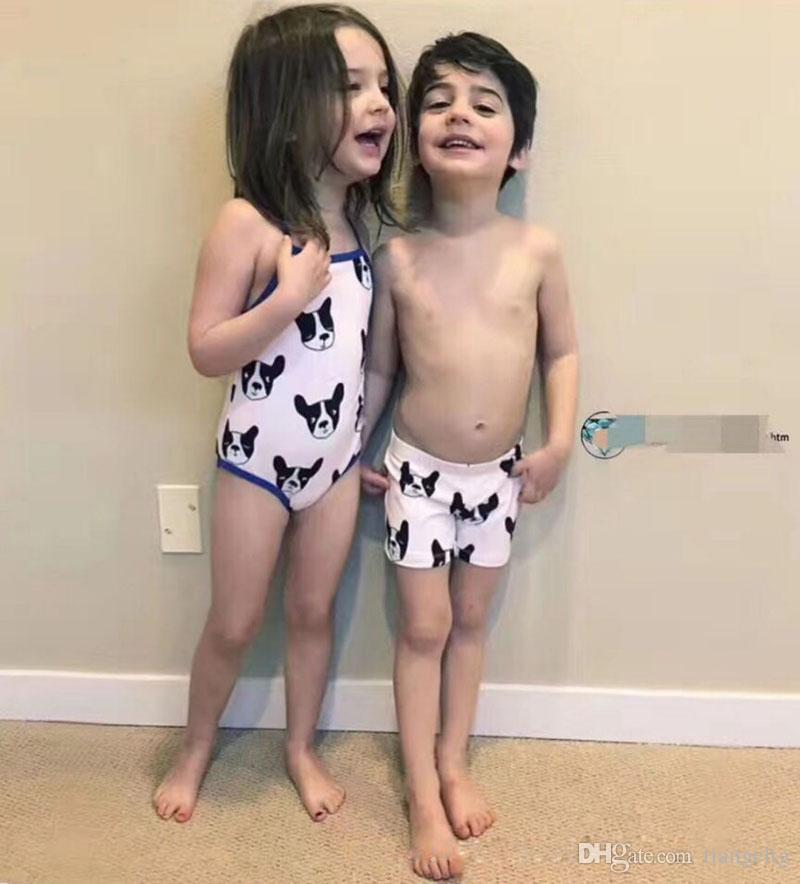 666e11c045f72 Kids Two-piece Swimwear Brother & Sister One-piece Swim + Swimming Cap Swim  TrunDogs Cartoon Ins Girls Boys Swimsuit Sun-protective Clothing