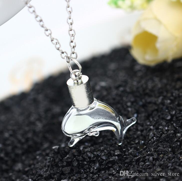 Good A++ Cute Lights Little Dolphin Pendant Women Necklace Fluorescent Glass Drift Bottle WFN146 with chain a