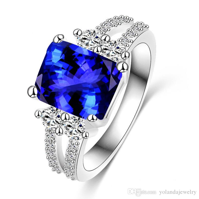 Luxury Blue Bride Ring For Women 18k White Gold Plated Aaa Blue