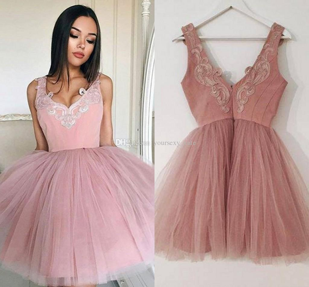 Großhandel Dusty Pink Ballkleid Prom Kleider V Ausschnitt Ärmellose ...