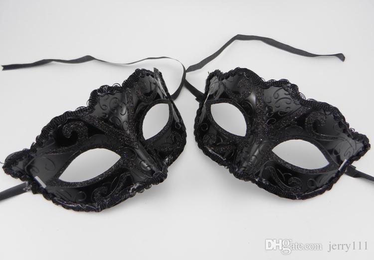 Siyah Venedik Maskeleri Masquerade Parti Maskesi Noel Hediyesi Mardi Gras Adam Kostüm Seksi dantel Saçaklı Gilter Kadın dans Maske 200 p B125