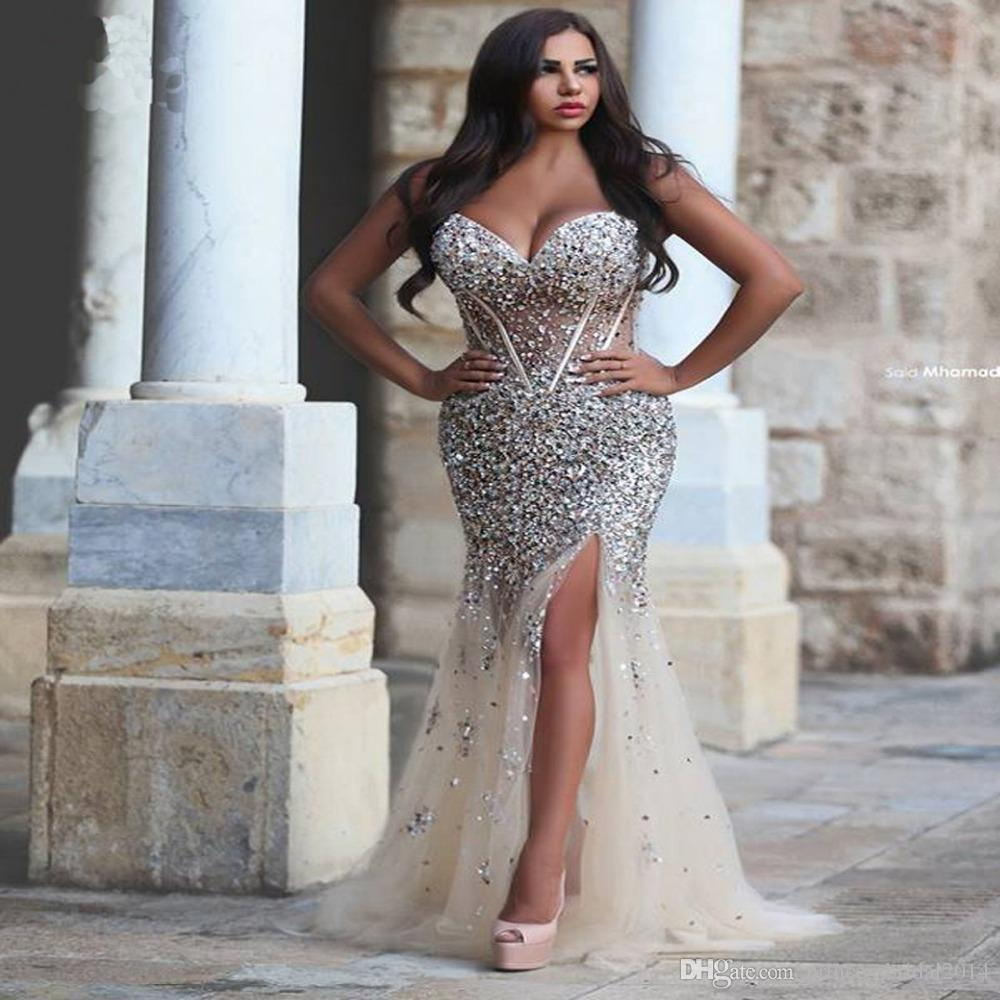 Saudi Arabia Dresses Evening Wear Fitted Rhinestone Beaded Exposed Boning See Through Women Mermaid High Slit Formal Party Prom Dress