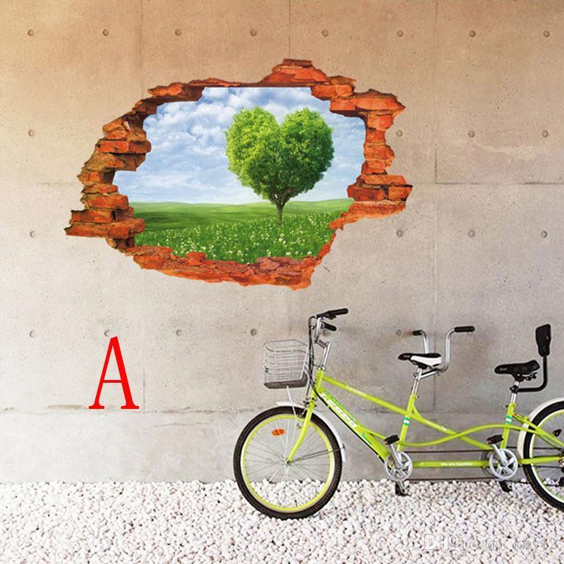 Spedizione gratuita nuovi arrivi Sandbeach 3D Window View rimovibile Wall Stickers Art Vinyl Decal Home Decor murale