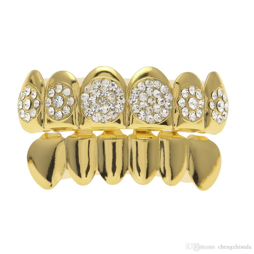 New Custom Fit Gold Plated 4 Lows Iced out Hip Hop Teeth Grillz Top Grill for Halloween Christmas Party Gift