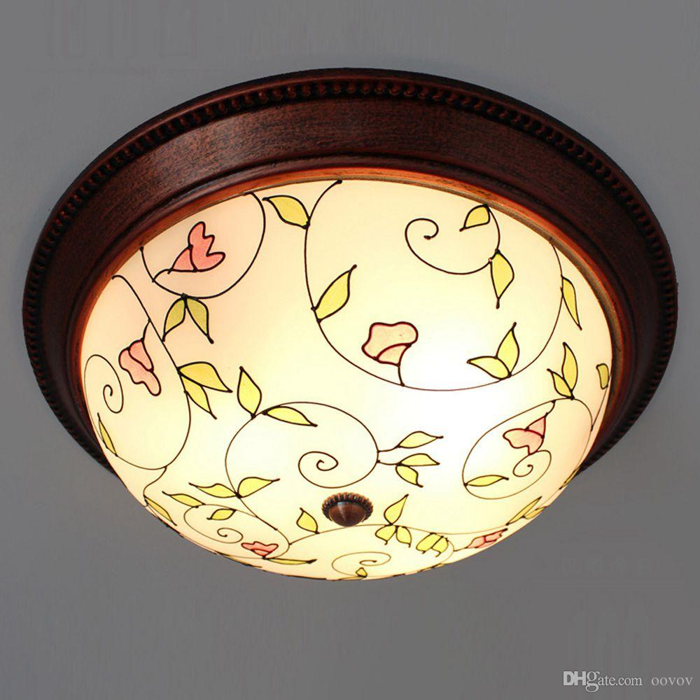 OOVOV Pastoral Glass Bedroom Ceiling Light Classic Washroom Bathroom Ceiling Lamps Kitchen Balcony Ceiling Pendant Fixtures