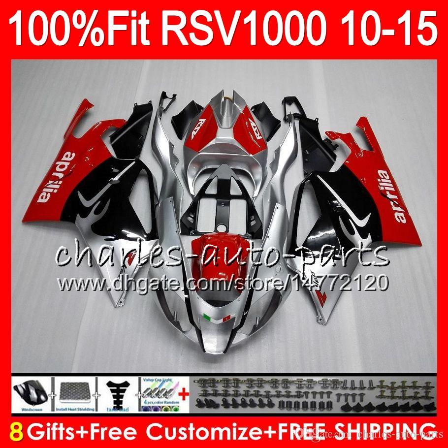 Inyección para Aprilia RSV1000 R Mille RSV1000 10 11 12 13 14 15 Negro silyver 77NO1 RSV 1000R RSV1000R 2010 2011 2012 2013 2014 2015 Carenado