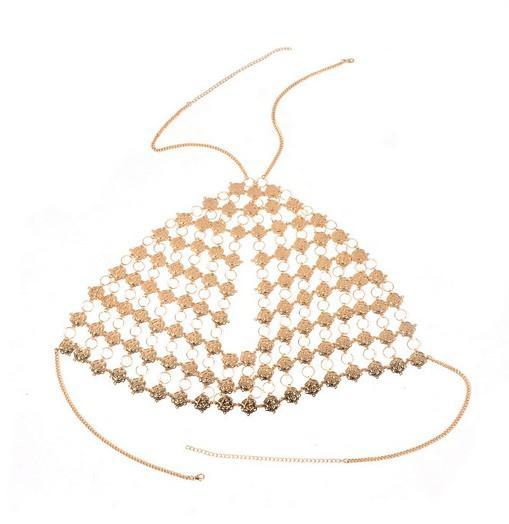 Hecho a mano exquisito para mujer Bralette aleación de cadena patrón floral oro / plata tono moda joyería sujetador superior cuerpo cadena sujetador