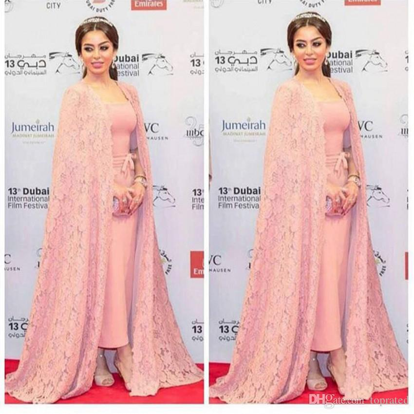 Pink Long Evening Dresses With Cape Lace Half Sleeves Boat Neck Sweep Train 2017 Arabic Women Formal Celebrity Gowns Mother of the Bride