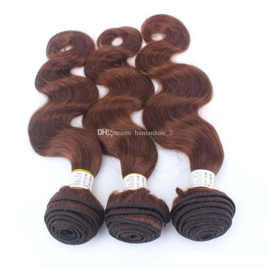 9A Çikolata Kahverengi Vizon Brezilya Vücut Dalga Virgin İnsan Saç Demetleri Ile renk # 4 Orta Kahverengi 13 * 4 Kulak Dantel Ön Frontal Kapatma