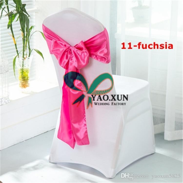 White Spandex Chair Covers With Fuchsia Satin Chair Sash