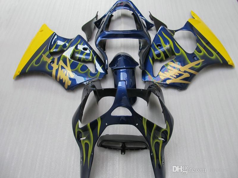 Spritzgussform 100% Verkleidungen für Kawasaki Ninja ZX6R 2000 2001 2002 Gelb Flammen Blau Verkleidungssatz ZX6R 00 01 02 OT51