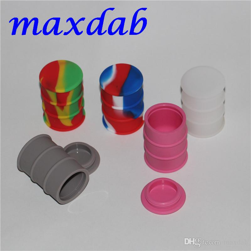 Wholesale Cheapest Silicone Oil Drum Barrel Container Large Butane Hash Oil Silicone Container dabber tool for dry herb jars dab