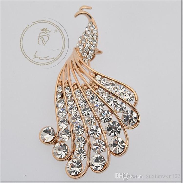 Lager Cristal AB Strass Broche Grand Paon Broches Pour Les Femmes Bouquets De Mariage Clip Écharpe Boucle Hijab Pins
