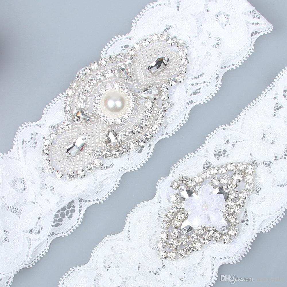 Real Image Luxury Crystals Bridal Garters for Bride Lace Wedding Garters White Ivory Cheap Wedding Leg Garters In Stock