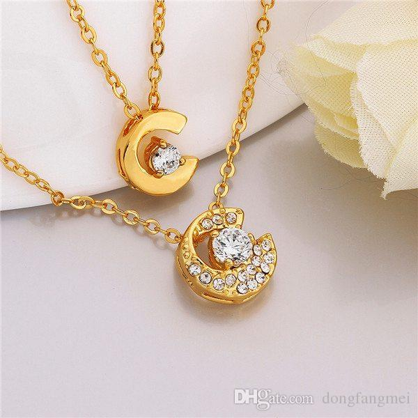 Good A++ Yellow Gold White crystal jewelry Necklace for women DGN805,mosaic 18K gold gem Pendant Necklaces with chains