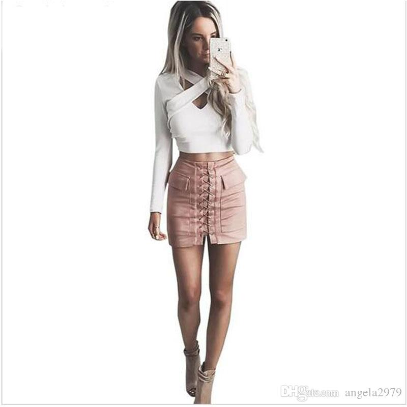 8129dda97a Women 90`s Vintage High Waist External Pocket Tight Suede Lace Up Skirt  Autumn Winter Thick Pencil Skirt Preppy Mini Skirt VD9092