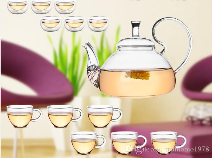 250ml Heat Resistant With High Handle Flower Coffee Glass Tea Pot Blooming Chinese Glass Teapots J1011-1