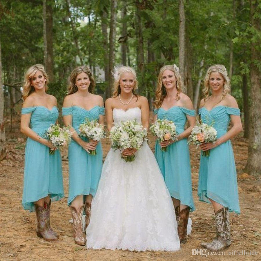 Autumn 2017 country style high low bridesmaid dresses off the autumn 2017 country style high low bridesmaid dresses off the shoulder straps sweetheart neck a line chiffon teal bridesmaid dresses pale yellow bridesmaid ombrellifo Images