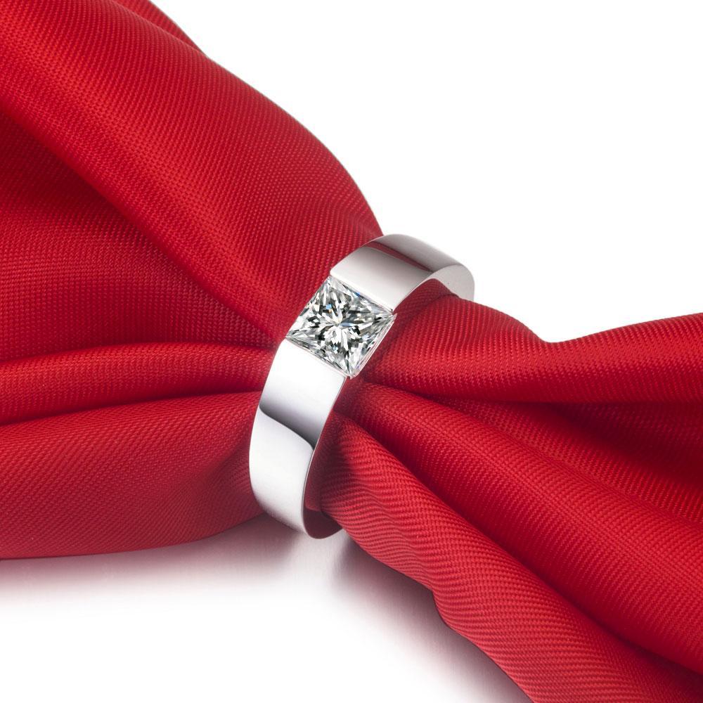 Vente en gros 2 ct carré Sona Synthetic Bague de diamant pour homme Mariage Hommes Bague Bague Engagement Sterling Argent Blanc Gold Gold