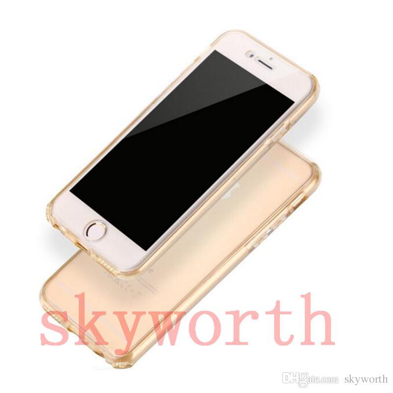 Para Samsung s8 Plus S7 S6 Edge iphone 7 Plus 6s 360 grados Full Body Front Back carcasa de TPU transparente claro cubierta de la piel