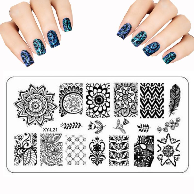 graphic about Printable Nail Art named Wholesale- Whole lot stamp polish Lace Flower Nail Artwork Templates Graphic Large High quality Stainless Metal Plate Graphic Do it yourself Nail Stamping Plates Elegance