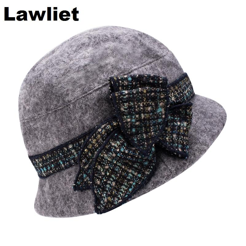 370cab300 Wholesale-A374 Designer Look 20s Style Ladies Women Gray Wool Felt Cloche  Hat Fedora Cap Bowler Hat for Fashion Party Daily Gift