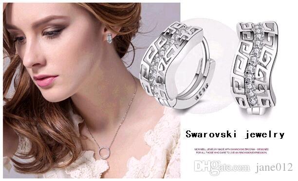 Vintage Fashion Jewelry White Swarovski Zircon 925 Sterling Silver Earrings super shiny single row crystal stud earrings ear hoop