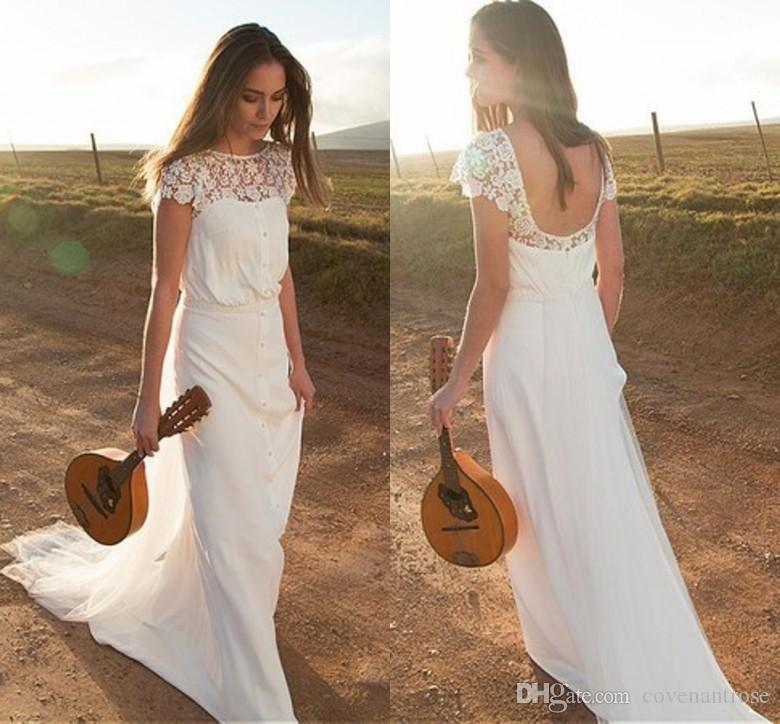 Romantic Boho Wedding Dresses Cap Sleeve Open Back A Line Lace Bridal Gowns Sweep Train Cheap