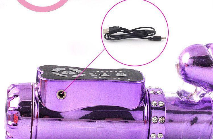 Kvinnor Onani Toys 20 Speed USB Rechargable Kanin Dildo Vibrator Sexleksaker För Kvinnor Rosa / Lila / Guld
