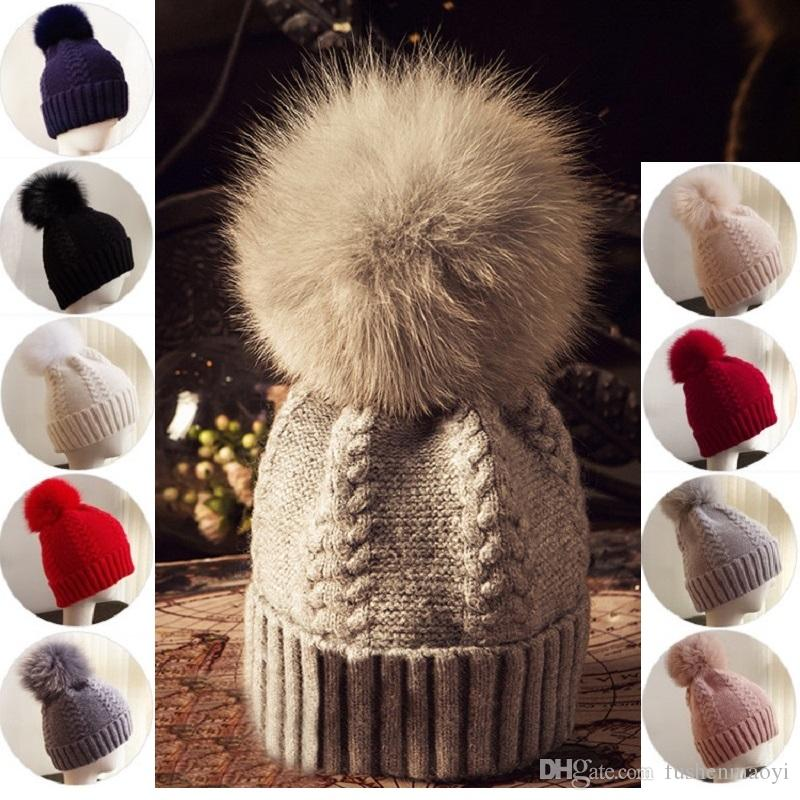 4232bb128ef Women Winter Warm Fox Fur Ball Knit Wool Hats Beanies Outdoor Warm Caps 9  Styles Cap Shop Knitted Hat From Fushenmaoyi
