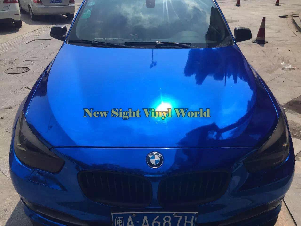La mejor calidad Envoltura de vinilo azul del alto brillo cromado brillante para envoltura de automóviles con burbuja libre de burbujas