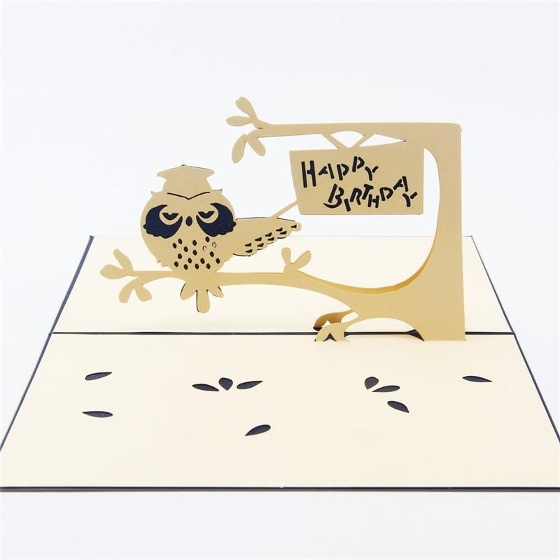 Hallow Out 3D Pop UP Card Creative Owl Handmade Paper Art Carving Birthday GiftGreeting Cards Free Online Christmas From