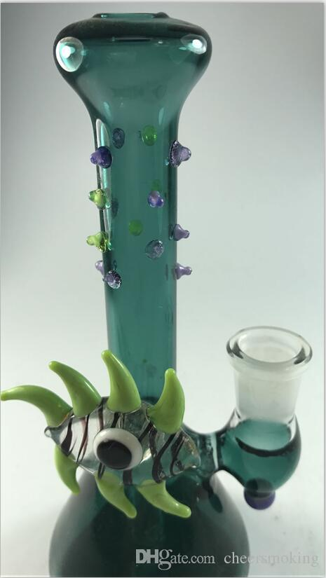 Monster Eye Glass Бонги Темно-Зеленый Стакан Барботер Wate Трубы Inline Perc Бесплатно Стеклянные Чаши Мода Нефтяные Вышки Стеклянные Бонги Безопасная Доставка Кальян