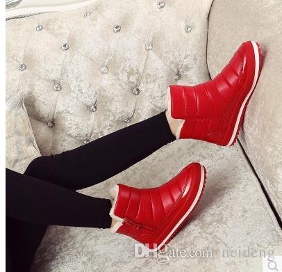 Bottes d'hiver pour femme Nouvelle marque de chaussures étanches Bottes de neige pour femme Bottes de fourrure en peluche à l'intérieur d'une taille plus chaude pour femmes. SP-027