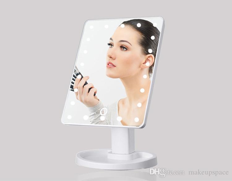 2017 Ekran Dotykowy Makijaż Mirror 360 Stopni Obrót Kosmetyk Przenośne Kompaktowe Lusterka z 22 LED Lights Makeup Tool