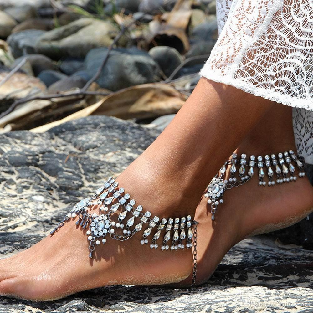 Vintage Silver Color Tassel Anklet Women Crysatal Beads Bohemian Ankle Bracelet tornozeleira chaine Boho Foot Jewelry /price Wholesale