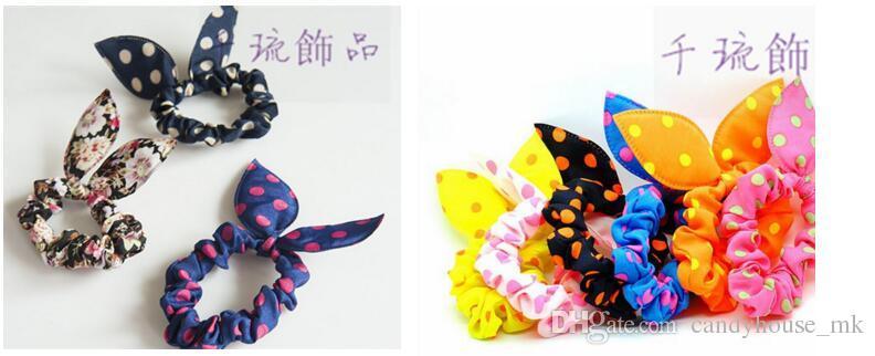 혼합 전송 토끼 귀 옷 예술 웨이브 포인트 활 머리 밧줄 작은 장식품 선물 머리 띠
