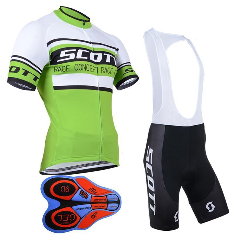 야외 자전거 2017 새로운 스콧 짧은 소매 사이클링 유니폼 9 D 젤 패딩 된 턱 받이 반바지 세트 여름 스타일 Mtb Maillot Ciclismo F2401