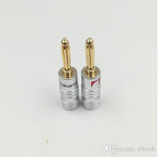 High quality 50red,50 black24K Gold Nakamichi Speaker Banana Plugs pure copper Audio Jack Connector Free Drop Shipping