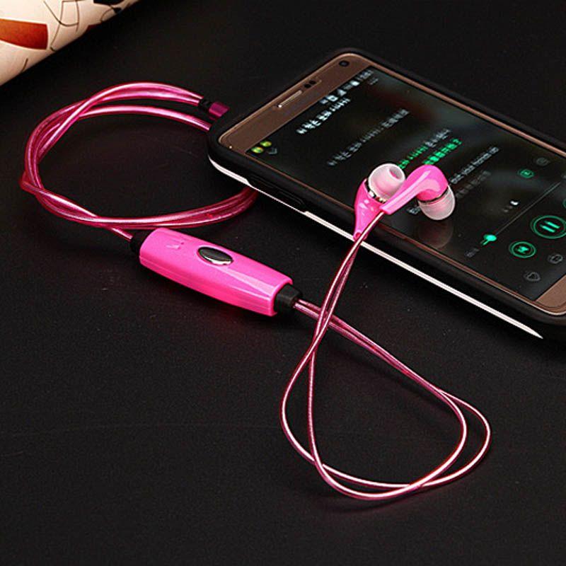 Evrensel LED Kulaklık Kulaklık Kulak Yanıp Sönen LED Stereo Kulaklık USB Cep Telefonu MP3 MP4 Tablet PC için USB Şarj ile Yanıp Sönen Parlak