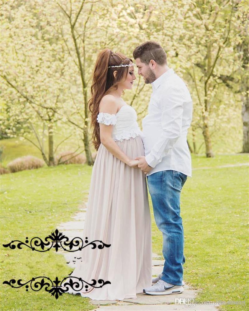 새로운 화이트 임신 임산부 이브닝 드레스 3D 꽃 Peplum 라인 오프 어깨 긴시 폰 플러스 크기 저렴한 공식 파티 파티 드레스