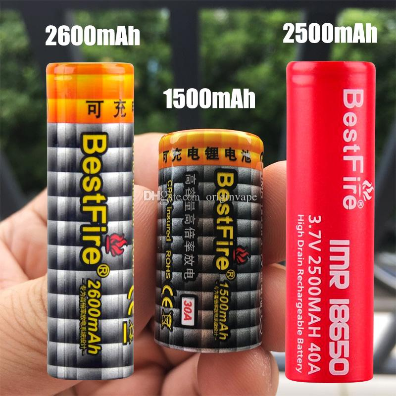 100% Authentic BestFire IMR 18650 2600/2500/1500mAh 60A 40A 30A 3.7V Rechargeable Battery for Box Mod Fedex Free