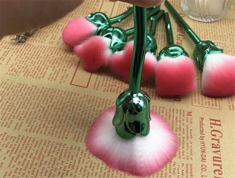 Blumen-Make-upbürsten-Set der Rosen-3D stellte = Grundlage-Mischungsbürsten-Werkzeug-Schönheits-Kosmetikpulver erröten freies Verschiffen